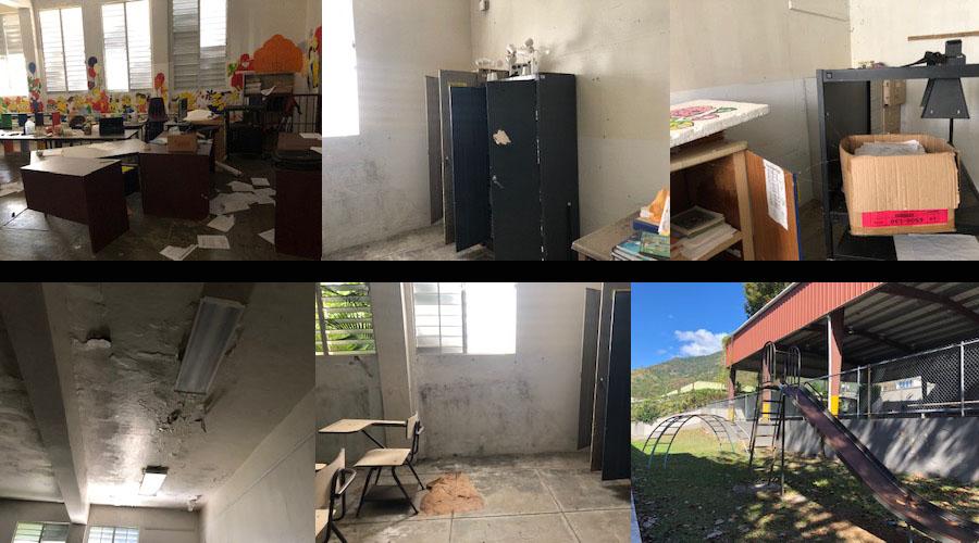 Estado de abandono en que se encuentra la Escuela Walter Mck Jones en Villalba. (Voces del Sur / Sara R. Marrero Cabán)
