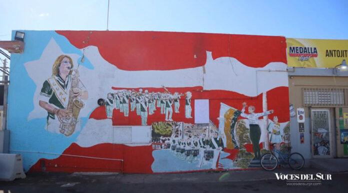 Mural inspirado en la Banda Escolar de Guayanilla de la artista Maritza González Cintrón. (Voces del Sur / Sara R. Marrero Cabán)