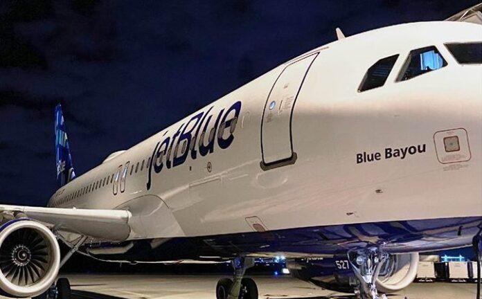 Avión de la flota de la aerolínea JetBlue.