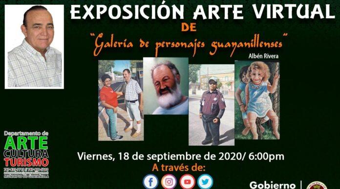 Afiche de la exposición Galería de personajes guayanillenses del artista sureño Albén Rivera.