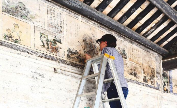 Trabajos de conservación de estructura histórica.